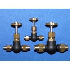 """Globe valve - 180 deg. Pipe to pipe - 1/4"""" pipe"""