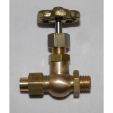 Globe valve - 180 deg. 1/4 BSP to  3/8 pipe manifold valve.