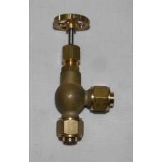 """Globe valve - 90 deg. Pipe to pipe - 3/8"""" pipe"""