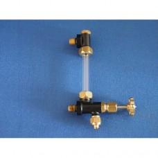 "Water gauge - single valve - 1/4"" x 40 - 5mm glass"