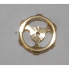 """1"""" 3 Spoked Brass Machined Hand Wheel"""